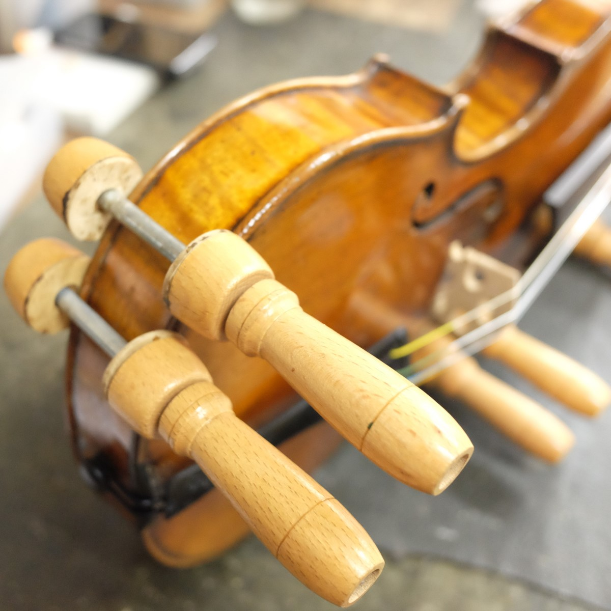 はがれた部分にニカワを入れて圧着しているバイオリン