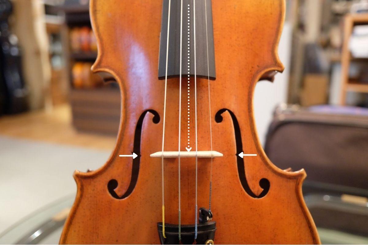 バイオリンの駒の、標準的な位置