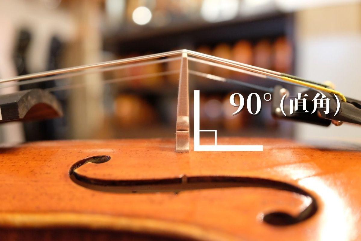バイオリンの駒の横から見た角度